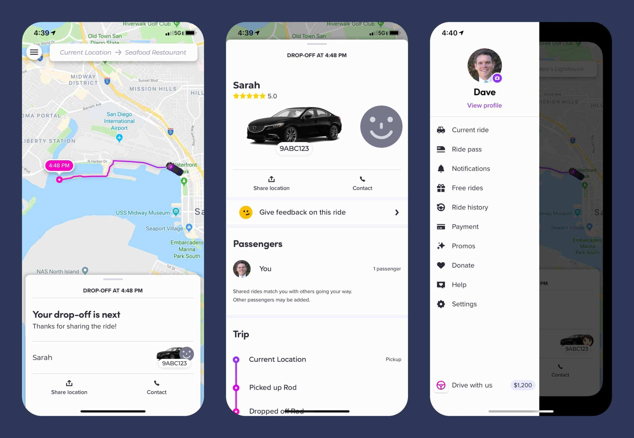 Three screenshots of various areas within the app, one showing a map & route, another showing info about the driver & the third showing settings & options.